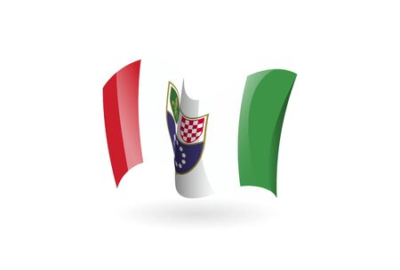 Bosnia and Herzegovina waving flag vector icon, national symbol. Flag of Bosnia and Herzegovina, fluttered in the wind - vector illustration isolated on white background.