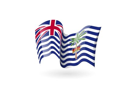 British Indian Ocean Territory waving flag vector icon, national symbol. Flag of British Indian Ocean Territory, fluttered in the wind - vector illustration isolated on white background.