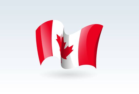 canada waving flag vector icon, national symbol. Flag of canada, fluttered in the wind - vector illustration isolated on white background.
