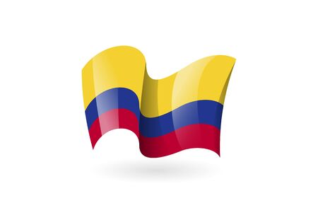 colombia waving flag vector icon, national symbol. Flag of colombia, fluttered in the wind - vector illustration isolated on white background.