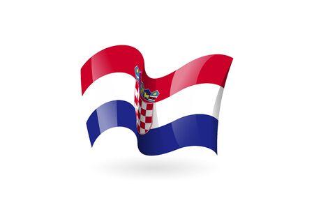 croatia waving flag vector icon, national symbol. Flag of croatia, fluttered in the wind - vector illustration isolated on white background. Ilustração