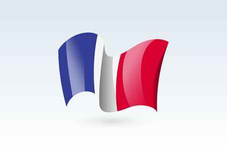 France waving flag vector icon, national symbol. Flag of France, fluttered in the wind - vector illustration isolated on white background. 일러스트