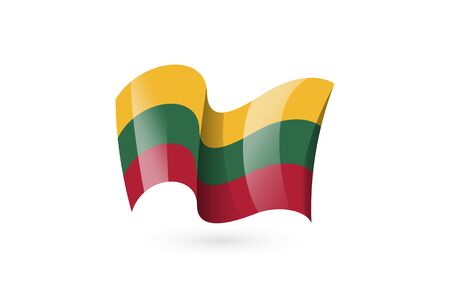 Lithuania waving flag vector icon, national symbol. Flag of Lithuania, fluttered in the wind - vector illustration isolated on white background. 일러스트