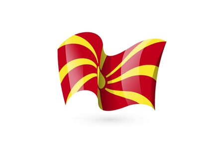 Macedonia waving flag vector icon, national symbol. Flag of Macedonia, fluttered in the wind - vector illustration isolated on white background.