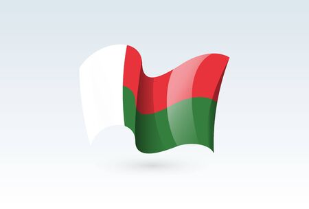madagascar waving flag vector icon, national symbol. Flag of madagascar, fluttered in the wind - vector illustration isolated on white background.
