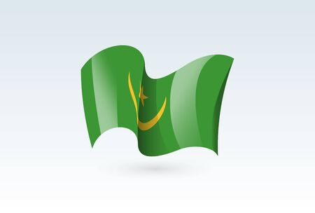 Mauritania waving flag vector icon, national symbol. Flag of Mauritania, fluttered in the wind - vector illustration isolated on white background.