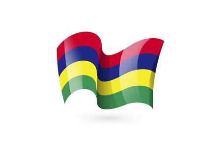 Mauritius waving flag vector icon, national symbol. Flag of Mauritius, fluttered in the wind - vector illustration isolated on white background.