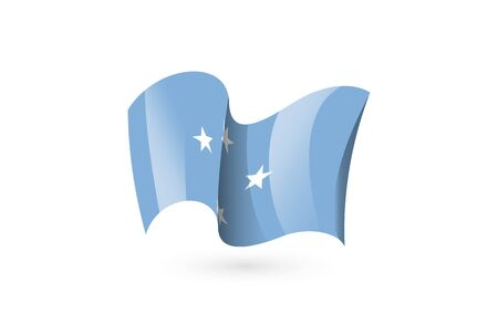 Micronesia waving flag vector icon, national symbol. Flag of Micronesia, fluttered in the wind - vector illustration isolated on white background.  イラスト・ベクター素材