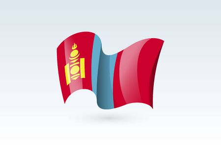 Mongolia waving flag vector icon, national symbol. Flag of Mongolia, fluttered in the wind - vector illustration isolated on white background.