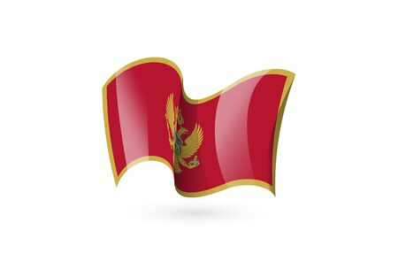 Montenegro waving flag vector icon, national symbol. Flag of Montenegro, fluttered in the wind - vector illustration isolated on white background.
