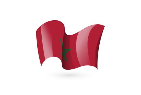 morocco waving flag vector icon, national symbol. Flag of morocco, fluttered in the wind - vector illustration isolated on white background.