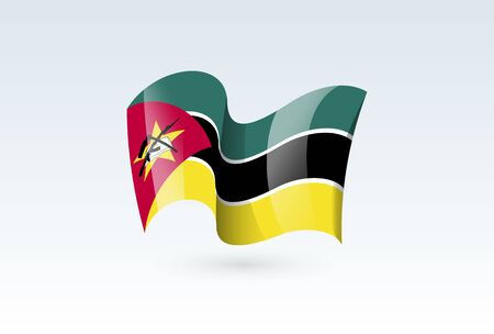 Mozambique waving flag vector icon, national symbol. Flag of Mozambique, fluttered in the wind - vector illustration isolated on white background.
