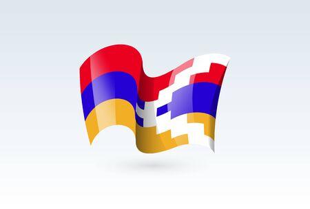 Nagorno Karabakh waving flag vector icon, national symbol. Flag of Nagorno Karabakh, fluttered in the wind - vector illustration isolated on white background.