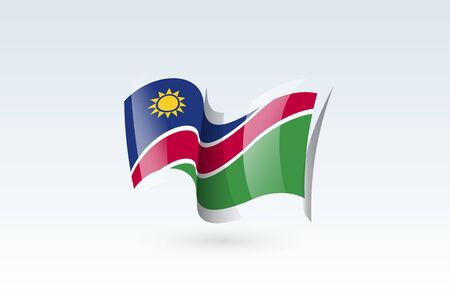 Namibia waving flag vector icon, national symbol. Flag of Namibia, fluttered in the wind - vector illustration isolated on white background.