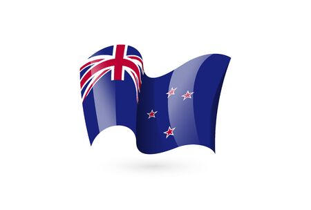 New Zealand waving flag vector icon, national symbol. Flag of New Zealand, fluttered in the wind - vector illustration isolated on white background.