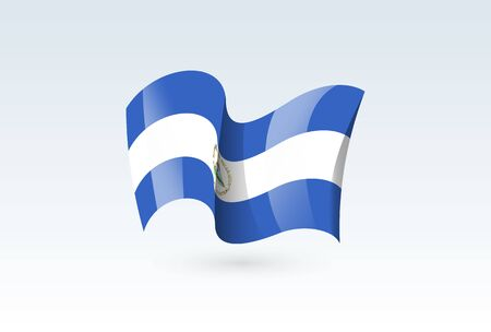 Nicaragua waving flag vector icon, national symbol. Flag of Nicaragua, fluttered in the wind - vector illustration isolated on white background.