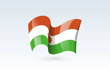 Niger waving flag vector icon, national symbol. Flag of Niger, fluttered in the wind - vector illustration isolated on white background.  イラスト・ベクター素材