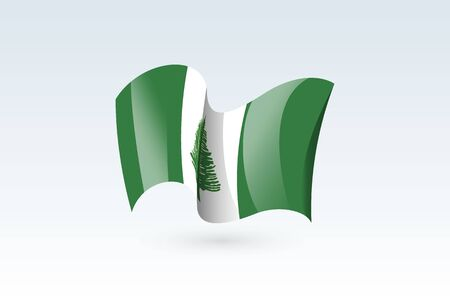 Norfolk Island waving flag vector icon, national symbol. Flag of Norfolk Island, fluttered in the wind - vector illustration isolated on white background.  イラスト・ベクター素材