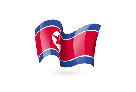North Korea waving flag vector icon, national symbol. Flag of North Korea, fluttered in the wind - vector illustration isolated on white background.
