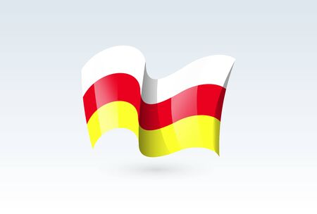 North Ossetia waving flag vector icon, national symbol. Flag of North Ossetia, fluttered in the wind - vector illustration isolated on white background.  イラスト・ベクター素材