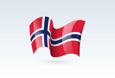 Norway waving flag vector icon, national symbol. Flag of Norway, fluttered in the wind - vector illustration isolated on white background.