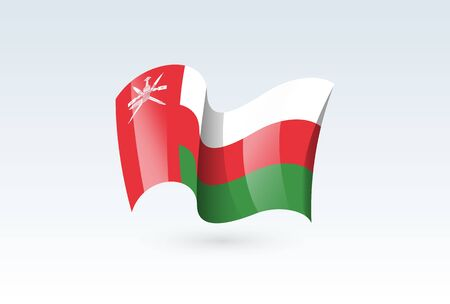 Oman waving flag vector icon, national symbol. Flag of Oman, fluttered in the wind - vector illustration isolated on white background.  イラスト・ベクター素材