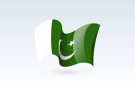 Pakistan waving flag vector icon, national symbol. Flag of Pakistan, fluttered in the wind - vector illustration isolated on white background.  イラスト・ベクター素材