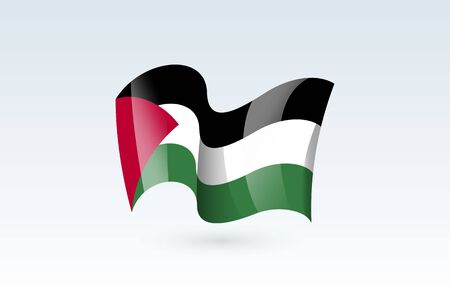 Palestine waving flag vector icon, national symbol. Flag of Palestine, fluttered in the wind - vector illustration isolated on white background.  イラスト・ベクター素材