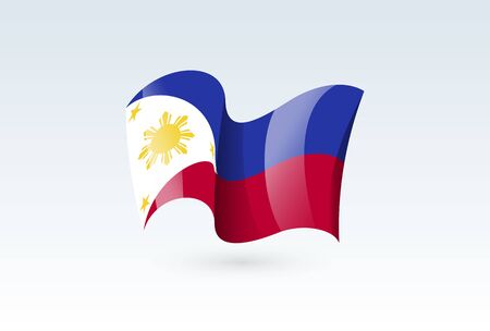 Philippines waving flag vector icon, national symbol. Flag of Philippines, fluttered in the wind - vector illustration isolated on white background.