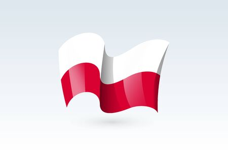 Poland waving flag vector icon, national symbol. Flag of Poland, fluttered in the wind - vector illustration isolated on white background.