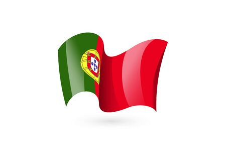 Portugal waving flag vector icon, national symbol. Flag of Portugal, fluttered in the wind - vector illustration isolated on white background.