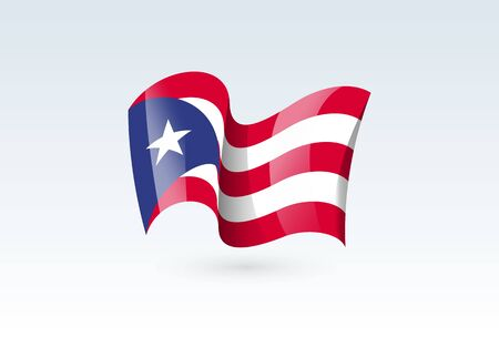 Puerto Rico waving flag vector icon, national symbol. Flag of Puerto Rico, fluttered in the wind - vector illustration isolated on white background.