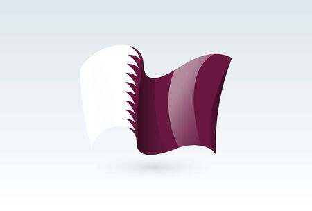 Qatar waving flag vector icon, national symbol. Flag of Qatar, fluttered in the wind - vector illustration isolated on white background.