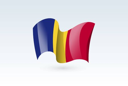 Romania waving flag vector icon, national symbol. Flag of Romania, fluttered in the wind - vector illustration isolated on white background.