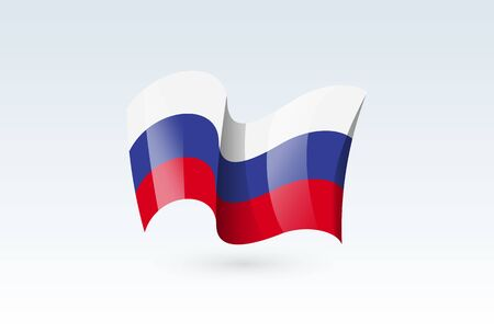 Russia waving flag vector icon, national symbol. Flag of Russia, fluttered in the wind - vector illustration isolated on white background.  イラスト・ベクター素材