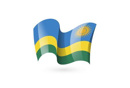 Rwanda waving flag vector icon, national symbol. Flag of Rwanda, fluttered in the wind - vector illustration isolated on white background.