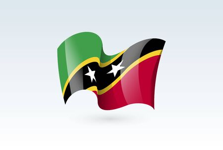 Saint Kitts and Nevis waving flag vector icon, national symbol. Flag of Saint Kitts and Nevis, fluttered in the wind - vector illustration isolated on white background.  イラスト・ベクター素材