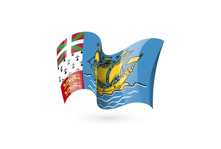 Saint Pierre and Miquelon waving flag vector icon, national symbol. Flag of Saint Pierre and Miquelon, fluttered in the wind - vector illustration isolated on white background.