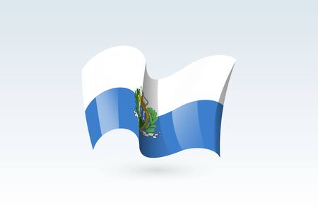San Marino waving flag vector icon, national symbol. Flag of San Marino, fluttered in the wind - vector illustration isolated on white background.