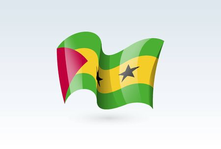 Sao Tome and Principe waving flag vector icon, national symbol. Flag of Sao Tome and Principe, fluttered in the wind - vector illustration isolated on white background.  イラスト・ベクター素材
