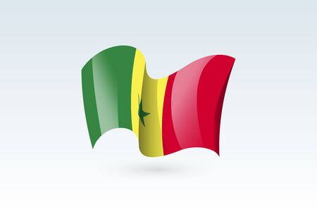 senegal waving flag vector icon, national symbol. Flag of senegal, fluttered in the wind - vector illustration isolated on white background.  イラスト・ベクター素材