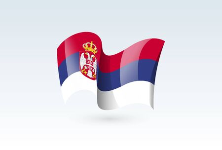 Serbia waving flag vector icon, national symbol. Flag of Serbia, fluttered in the wind - vector illustration isolated on white background.