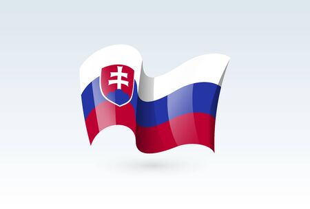 Slovakia waving flag vector icon, national symbol. Flag of Slovakia, fluttered in the wind - vector illustration isolated on white background.