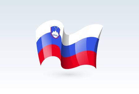 Slovenia waving flag vector icon, national symbol. Flag of Slovenia, fluttered in the wind - vector illustration isolated on white background.