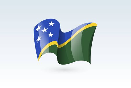 Solomon Islands waving flag vector icon, national symbol. Flag of Solomon Islands, fluttered in the wind - vector illustration isolated on white background.