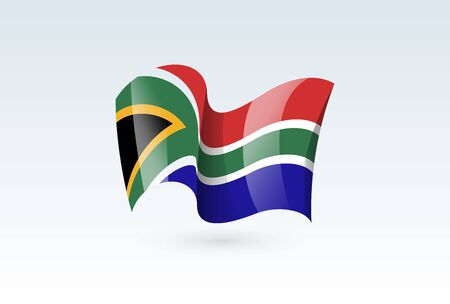south african waving flag vector icon, national symbol. Flag of south african, fluttered in the wind - vector illustration isolated on white background.  イラスト・ベクター素材