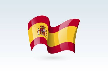 Spain waving flag vector icon, national symbol. Flag of Spain, fluttered in the wind - vector illustration isolated on white background.