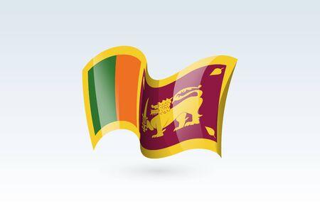 sri lanka waving flag vector icon, national symbol. Flag of sri lanka, fluttered in the wind - vector illustration isolated on white background.