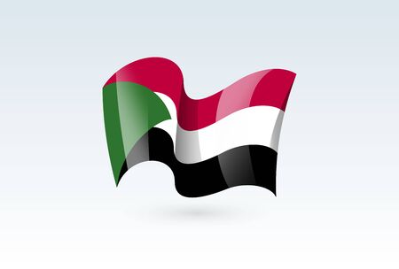 Sudan waving flag vector icon, national symbol. Flag of Sudan, fluttered in the wind - vector illustration isolated on white background.  イラスト・ベクター素材