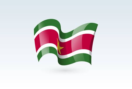Suriname waving flag vector icon, national symbol. Flag of Suriname, fluttered in the wind - vector illustration isolated on white background.